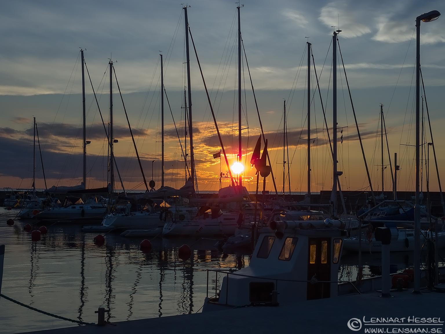 Sunset over Byxelkrok harbour Öland 2012