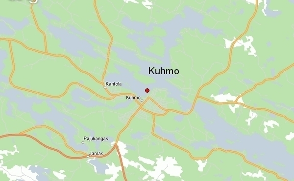 Map of Kuhmo, Finland, and its brown bear territory