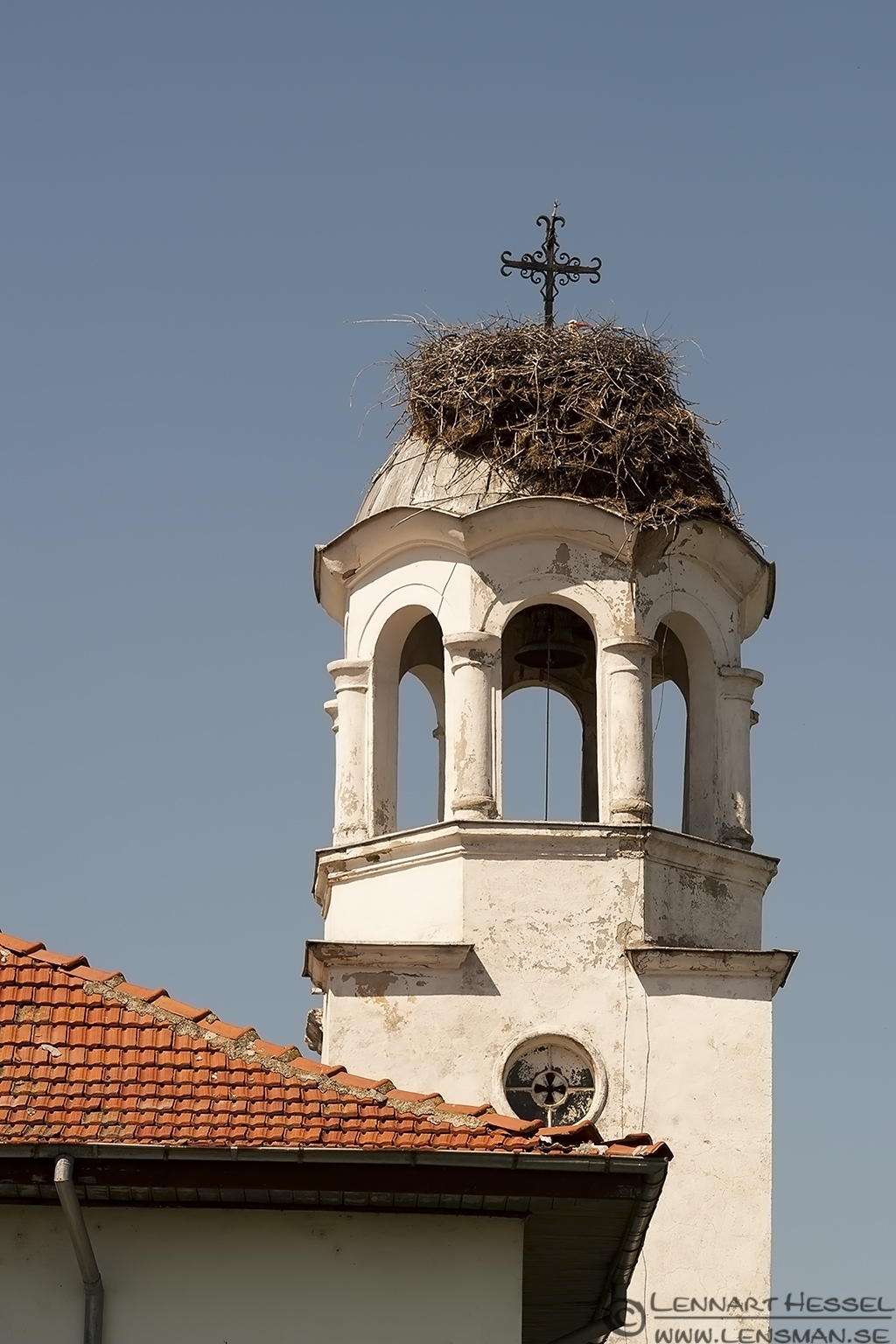 The church and the White Stork in Bulgaria