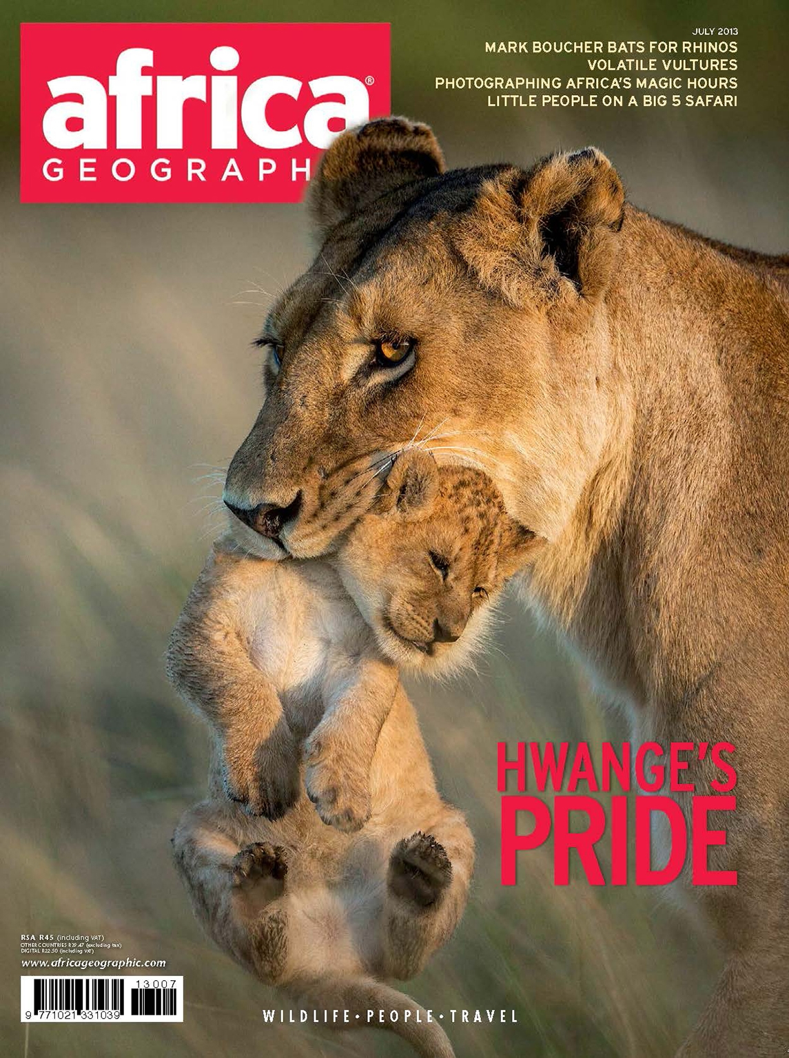 Africa Geographic Front cover July 2013
