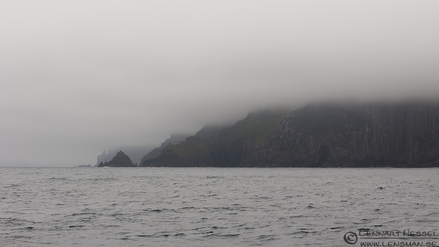 Coastline in the fog Tasman Peninsula