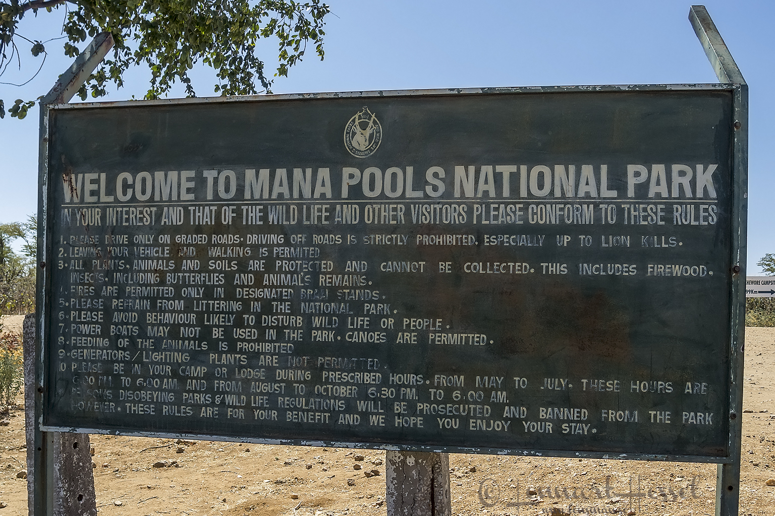 The rules in Mana Pools National Park, Zimbabwe
