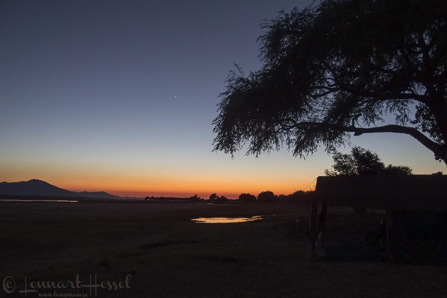 Sunrise seen on safari in Mana Pools