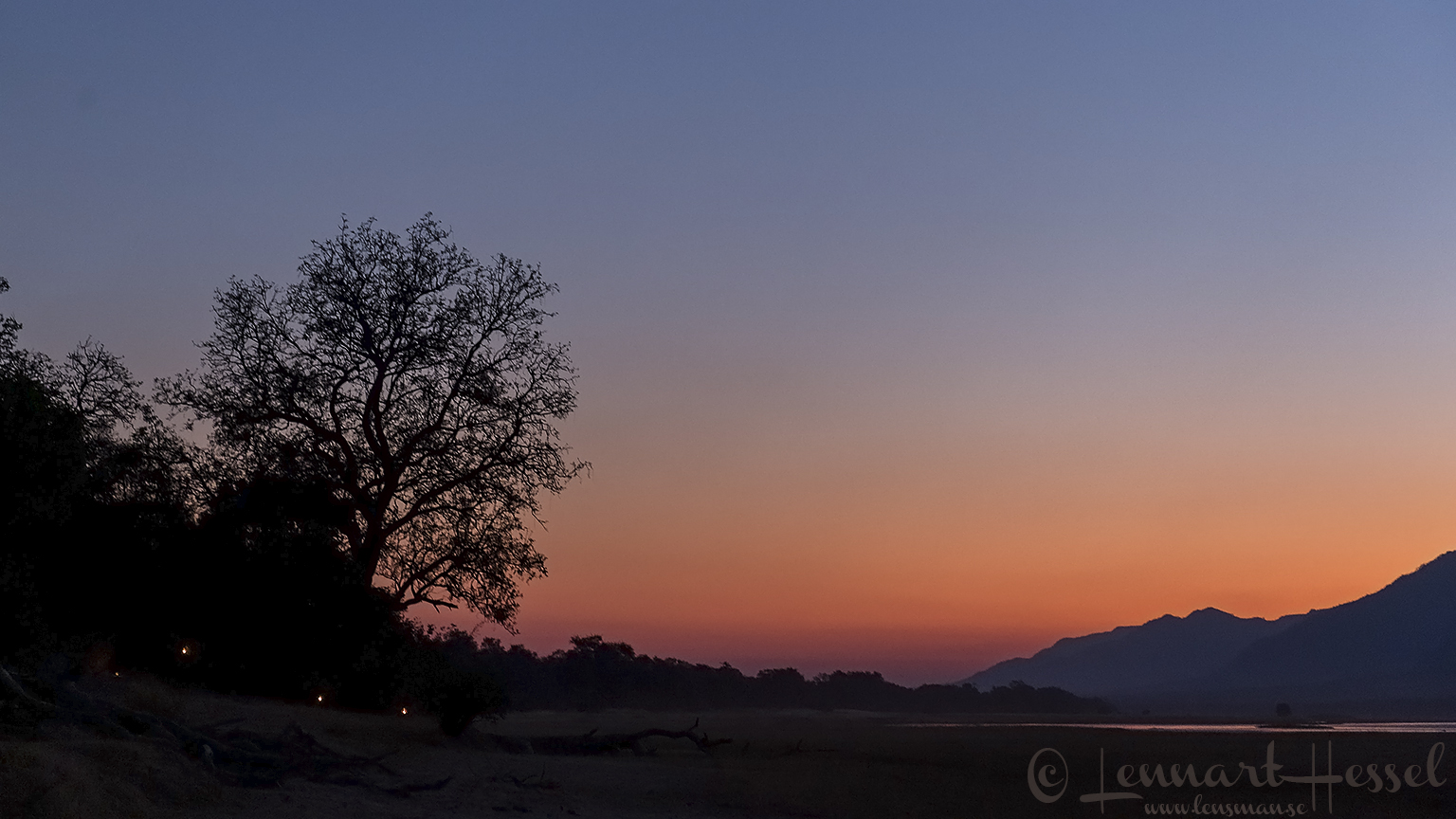 Sunset at camp Mana Pools National Park Zimbabwe