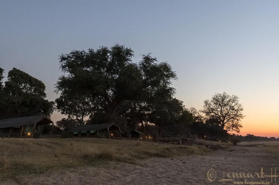 Sunset at camp mobile safari