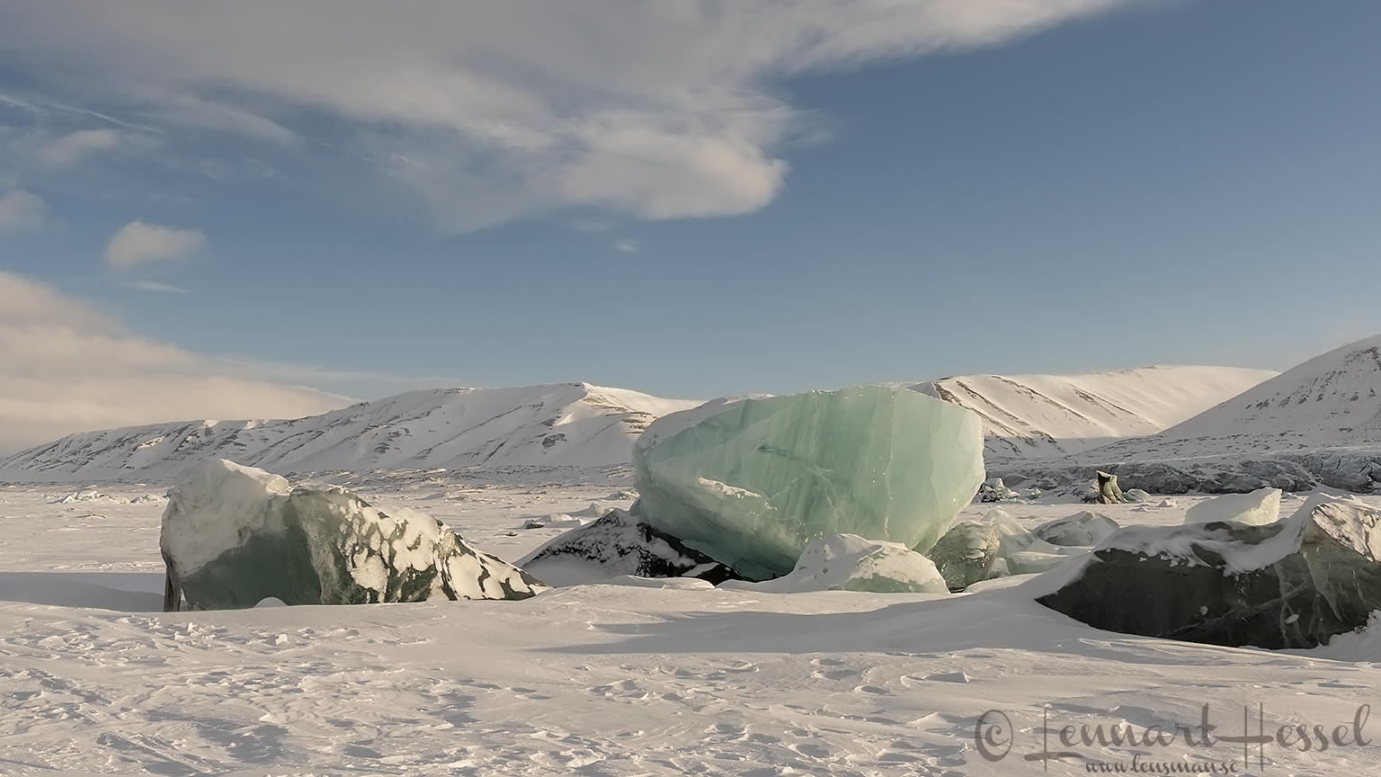 Blue ice in landscape Svalbard