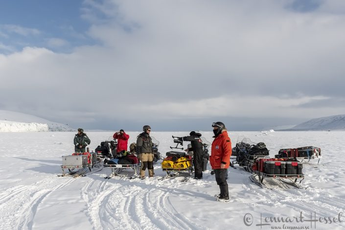 The group on the sea ice Svalbard