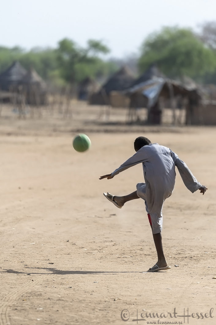Village life football Zakouma National Park Chad Salamat